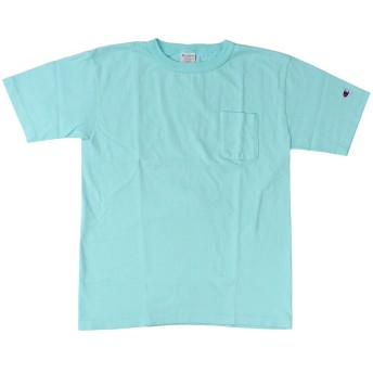Champion チャンピオン T1011 ティーテンイレブン ポケット付き US Tシャツ MADE IN USA カットソー ティーシャツ 半袖 メンズ ロゴ刺繍 ワンポイント C5-M304 OCEAN(M)