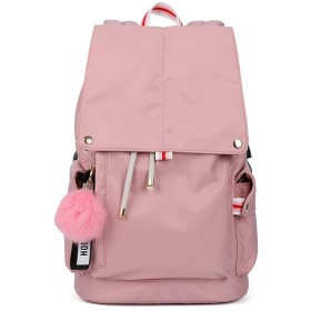 ウィメンズバックパック軽量でスタイリッシュなミディアムバックパックカレッジ学生旅行オックスフォードバックパック (ピンク,28X16X37cm)