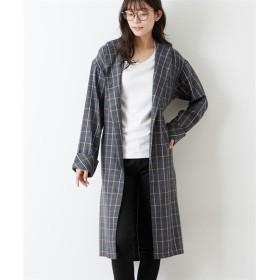 さっと羽織れる♪チェック柄ガウンシャツ (コート)(レディース)Coat, 大衣