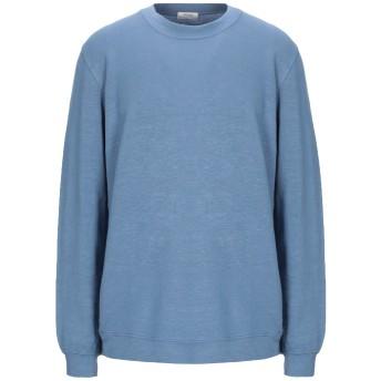 《セール開催中》AUTHENTIC ORIGINAL VINTAGE STYLE メンズ スウェットシャツ ブルーグレー S リネン 66% / コットン 30% / ポリウレタン 4%