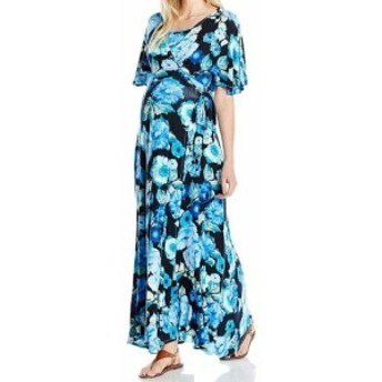 Everly Grey エバーリーグレイ ファッション ドレス Everly Grey Womens Blue Size Large L Floral Maternity Maxi Dress