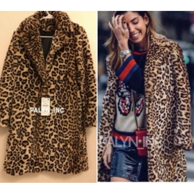 ファッション 衣類 VERY RARE!_NWT ZARA LEOPARD PRINT LONG FUR COAT JACKET SIZE SMALL REF 8156/729