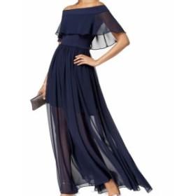 Betsy & Adam ベッツィアンドアダム ファッション ドレス Betsy & Adam NEW Blue Womens Size 6 Ruffle Chiffon Gown Dress
