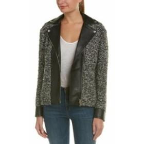 AG  ファッション 衣類 Ag Jeans Blaze Leather-Trim Wool-Blend Jacket M Black