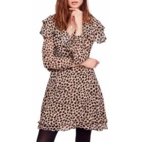 Free People フリーピープル ファッション ドレス Free People NEW Brown Leopard Print Ruffled Chiffon XS Wrap Dress