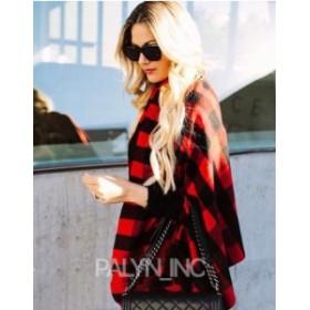 One  ファッション 衣類 RARE _ Zara Red Check Poncho Cape 4373/226 _ One Size M