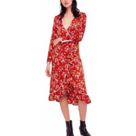 Free People フリーピープル ファッション ドレス Free People NEW Red Womens Size 6 Floral Ruffle Trim Faux-Wrap Dress