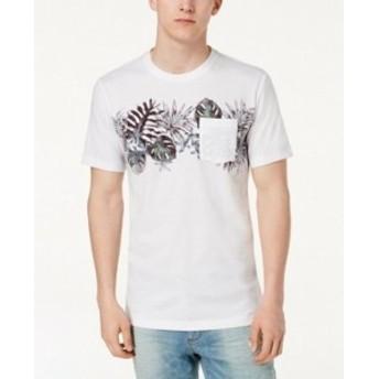 American  ファッション トップス American Rag Mens White Size Large L Tropical Print Graphic Tee T-Shirt #170
