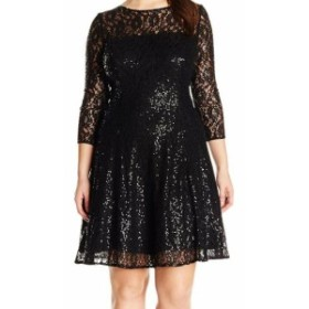 Sequin  ファッション ドレス SLNY NEW Black Sequin Floral Lace Womens Size 20W Plus Sheath Dress