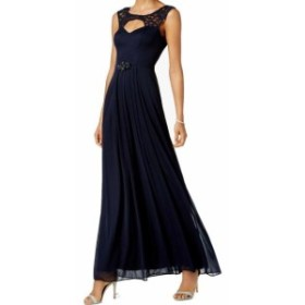 Betsy & Adam ベッツィアンドアダム ファッション ドレス Betsy & Adam NEW Blue Womens Size 4 Embellish Lace Cut-Out Gown Dress