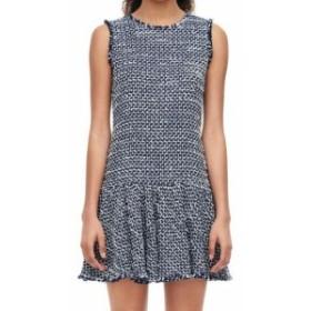 Rebecca Taylor レベッカテイラー ファッション ドレス Rebecca Taylor Womens Blue Size 4 Textured Knit Flounce Sheath Dress