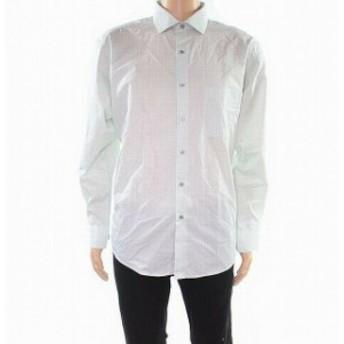 Alfani  ファッション ドレス Alfani NEW Green Mens Size 17 1/2 Geo Print Regular Fit Dress Shirt