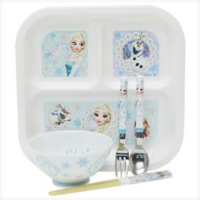 子供用食器 5点セット アナと雪の女王 食器セット ディズニープリンセス ヤクセル スプーン フォーク 箸 ランチプレート 茶碗 かわいい グッズ