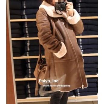 ファッション 衣類 RARE_NWT ZARA 17/18 LONG CONTRASTING COAT with faux fur interior JACKET BROWN _S