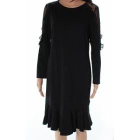 Ruffle  ファッション ドレス ONEBUYE NEW Black Laced Ruffle Sleeve Womens Size Large L Shift Dress