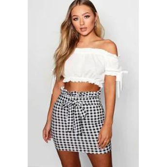 Boohoo レディーススカート Boohoo Gingham Crepe Paperbag & Tie Mini Skirt black