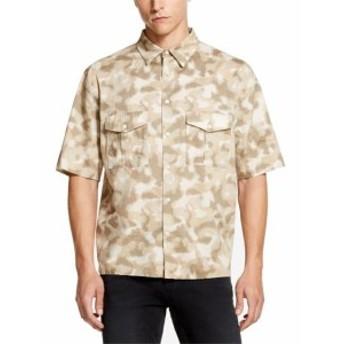 DKNY ダナキャランニューヨーク ファッション アウター DKNY NEW Beige Mens Size Medium M Camo Print Woven Button Down Shirt
