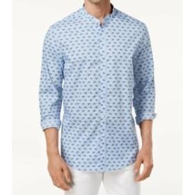 ファッション アウター Tasso Elba Mens Blue Size 3XL Geo Print Banded Collar Button Up Shirt