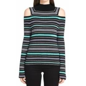 Calvin Klein カルバンクライン ファッション トップス Calvin Klein NEW Black Womens Size Large L Striped Mock Neck Sweater