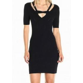 Rose  ファッション ドレス Minnie Rose NEW Black Womens Size Large L Cutout Knit Sheath Dress