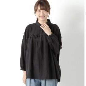シャツ ブラウス レディース 綿麻胸ギャザー丸襟シャツ 「ブラック」