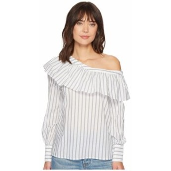Paige ペイジ 服 一般 Halsey Blouse in Papyrus/ China Blue Banker Stripe