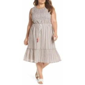ファッション ドレス CASLON Womens White Ivory Size 3X Plus Smocked Stripe Midi Dress