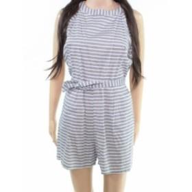 ファッション ジャンプスーツ CBR Womens Romper Blue Size Medium M Striped Halter Pleated Tie Waist- #200