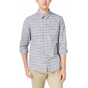 American  ファッション アウター American Rag Mens Shirt Blue Size XL Stripe print Pocket Button Up