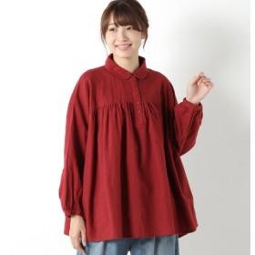 シャツ ブラウス レディース 綿麻胸ギャザー丸襟シャツ 「ボルドー」