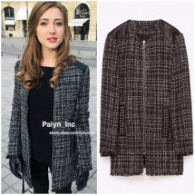 Rare  ファッション 衣類 Rare XS_NWT ZARA AW16 PATTERNED JACKET WITH FAUX LEATHER DETAIL 7965/725