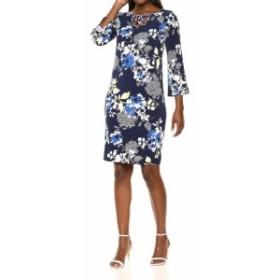 bell ベル ファッション ドレス Alfred Dunner Womens Blue Size 10 Floral Print Bell Sleeve Sheath Dress