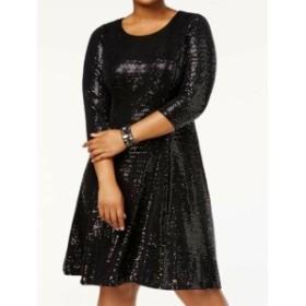 Calvin Klein カルバンクライン ファッション ドレス Calvin Klein NEW Black Womens Size 16W Plus Sequined Fit Flare Dress
