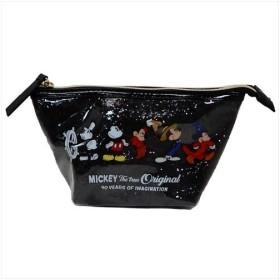 ミッキーマウス グリッターポーチ 90周年記念 ブラック ディズニー コスメポーチ キャラクター グッズ サンスター文具 19×10×7cm