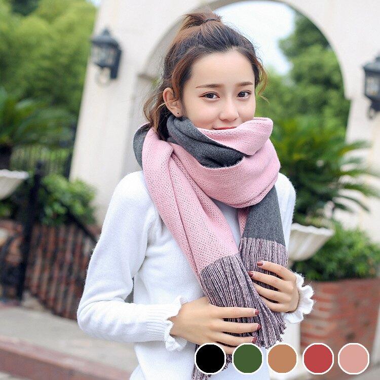 PS Mall 【G2488】 韓版雙面純色仿羊絨圍巾加長款流蘇披肩