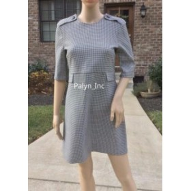 ファッション ドレス Rare_NWT ZARA WOMAN HOUNDSTOOTH DRESS WITH FLAPS OFFICE PARTY_size S