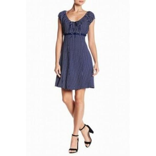 Papillon  ファッション ドレス Papillon NEW Blue Womens Size Medium M Polka Dot A-Line Sheath Dress