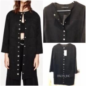 ファッション 衣類 Rare_NWT ZARA FAUX SUEDE JACKET WITH METALLIC DETAILS 2969/050_S M