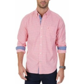 nautica ノーティカ ファッション アウター Nautica Mens Red Size XL Gingham Classic Fit Button Down Up Shirt