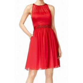Adrianna Papell アドリアーナ パペル ファッション ドレス Adrianna Papell NEW Red Womens Size 14 Embellished Sheath Dress