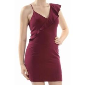 XOXO キスハグ ファッション ドレス XOXO Women Red Size Medium M Asymmetric Ruffle Trim V-Neck Sheath Dress
