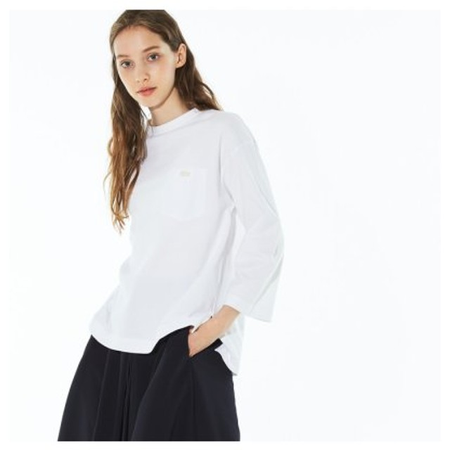 (LACOSTE/ラコステ)バインダーネックポケット付き七分袖Tシャツ/レディース ホワイト