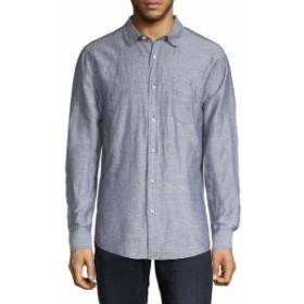 ファッション ドレスシューズ Saks Fifth Avenue Black Linen-Blend Woven Shirt Xl Blue