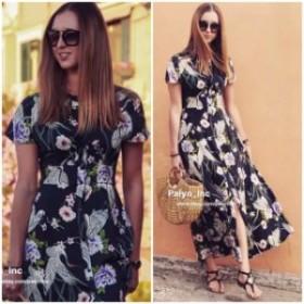 ファッション ドレス NWT ZARA SS18 NAVY BLUE LONG FLORAL PRINT DRESS SHIRT DRESS 2183/053_XS S M L XL