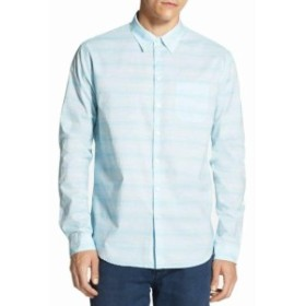 DKNY ダナキャランニューヨーク ファッション アウター DKNY NEW Blue Mens Size Small S Space Dyed Striped Button Up Shirt