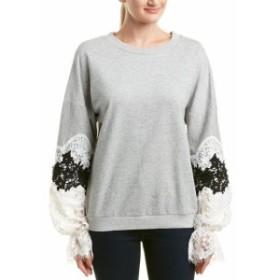 ファッション トップス Avantlook Lace Sleeve Sweatshirt S Grey