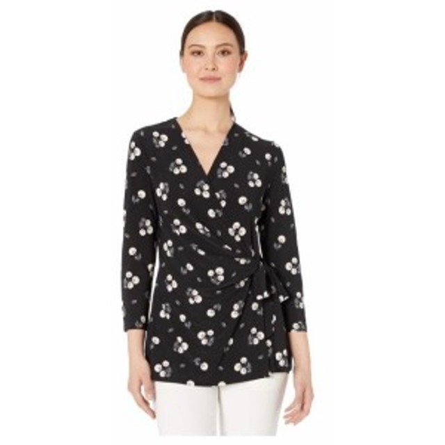 Anne Klein アンクライン 服 一般 Tussy Mussy Print Ity 3/4 Sleeve Wrap Top
