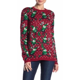 Red  ファッション トップス Cotton Emporium Womens Red Size XS Elves Graphic Holiday Knit Sweater #121