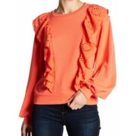 Melrose  ファッション トップス MELROSE AND MARKET NEW Orange Womens Size Small S Ruffle Eyelet Sweater