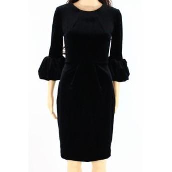 Betsy & Adam ベッツィアンドアダム ファッション ドレス Betsy & Adam NEW Black Womens Size 4 Velvet Puff Sleeve Sheath Dress